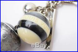 Authentic Louis Vuitton Key Ring Mini Lin Balls Black X Cream 366303