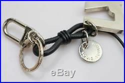 Authentic Louis Vuitton Key Ring Porte Cles LV Rope Black X Silver 185893