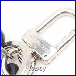 Authentic Louis Vuitton Key Ring Rope Damier Graphite Silver X Black 18419