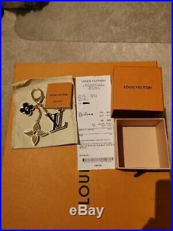 Authentic Louis Vuitton LV Black Fleur d'Monogram Bag Charm with Receipt