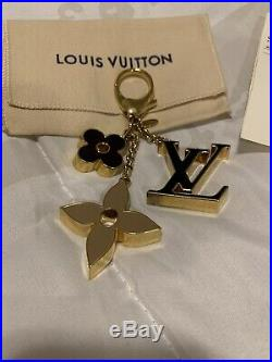 Authentic Louis Vuitton LV Fleur De Monogram Bag Charm M67119 With Receipt