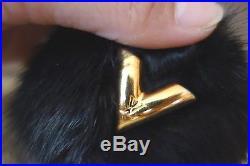 Authentic Louis Vuitton Mink Fur Black V Bubble Bag Charm key chain charm