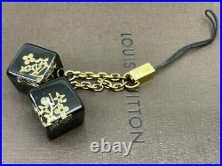 Authentic Louis Vuitton Mobile cell Phone Strap key bag charm cubes Black E-1514