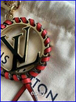 Authentic Louis Vuitton Red Black Very Bag Charm Key Ring/Holder Mint withBox