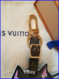 Authentic Louis Vuitton cat catogram keychain bag charm Rare