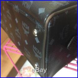 Authentic MCM Lion Boston Small Black Handbag with Key Chain