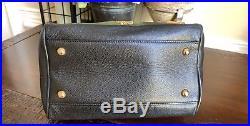 Authentic MCM Mini Boston Bag Black Leather Boston Bag W Key Chain Charms
