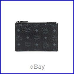 Authentic MCM Visetos Black Original Key Pouch Keyring Chain Zipper MYZ8SVI06BK