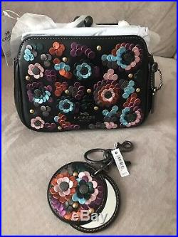 Authentic NWT Coach Pearl Kisslock Crossbody with Leather Sequins & Keychain