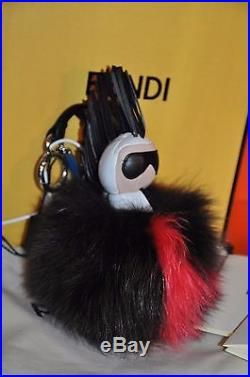 Authentic New Fendi Karl Pompon Karlito Black Red Fox Fur Monster Key Chain Bag