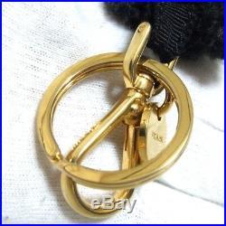 Authentic Prada Black Bear Key Ring Bag Charm Rhinestones 1ARG65 11cm/4.3 in Bo