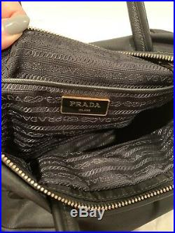 Authentic Prada nylon Black Satchel Crossbody With Key Charm Keychain