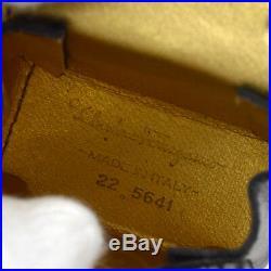 Authentic Salvatore Ferragamo Gancini Bag Key Chains Leather Black Italy AK28176