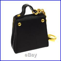 Authentic Salvatore Ferragamo Gancini Bag Key Chains Leather Black Italy S07712k