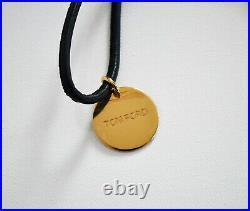 Authentic TOM FORD Black Leather Strap KEY Holder Key Fob Ring