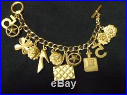 Authentic Used Chanel Vintage Black Leather Gold Chain 12Charms Bracelet