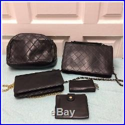Authentic Vingate Chanel Black Lambskin Shoulder Bag Wallet Keychain 5 Set Black