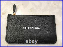 BALENCIAGA Cash logo-print leather cardholder coin purse