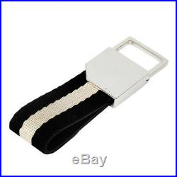 BALLY KeyRing Black Beige Calf Brass Cotton TANCY TSP 190 KeyHolder Chains Auth