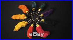 BLACK Lucky Rabbit's Foot Keychain Key Ring Natural Real Dyed Stocking Stuffer