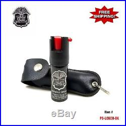 BLACK Police Magnum. 50oz Leather Cases Key Chain Pepper Spray