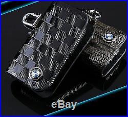 BMW Leather Car logo Keyfob KeyChain Key Case wallet bag Remote Control Black