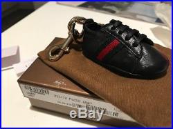 BNIB. Original GUCCI Black Leather Trainer Charm Keyring