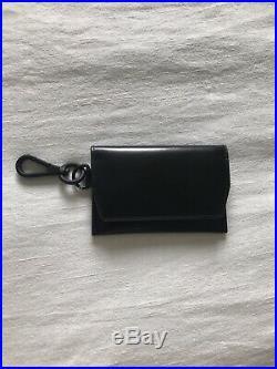 BNWT $250 Dries Van Noten Black Leather Wallet Card Holder Key Chain