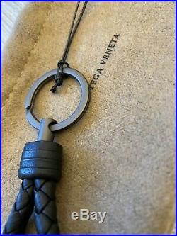 BOTTEGA VENETA Intrecciato Loop Key Chain Black Leather Dark Toned Ring