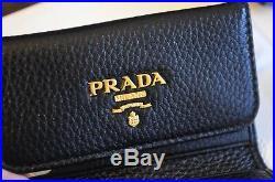 BRAND NEW PRADA Vitello Grain Leather Key Case Holder Wallet 1PG222 Nero Black