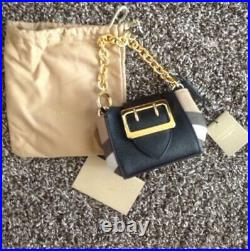 BURBERRY Buckle Bag Square Small in Leather Bag Charm Unused New