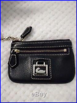 BeautifulDooney and Bourke black leather tote purse wth Coin Purse keychain