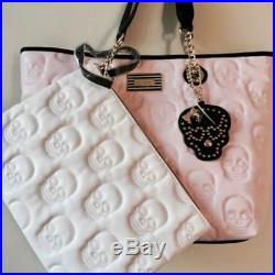 Betsey Johnson New Pink/Black Quilted Skulls 2 Handle Tote, wristlet & keychain
