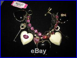 Betsey Johnson Valentine's Day Heart And Keys Black And Pink Statement Bracelet