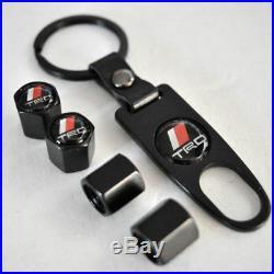 Black CAR Wheel Tyre Tire Valves Dust Stems Air Caps + Keychain TRD Logo Emblem