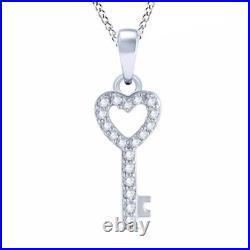 Black Friday 1/10ct Diamond Heart-Top Key Pendant in 10K White Gold 18 Chain