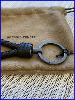 Bottega Veneta Intrecciato Black Woven Leather Key Chain Key Ring