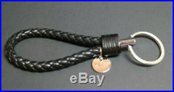 Bottega Veneta key ring Intrecciato Black Silver Authentic Used