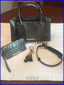 Brahmin Greta Satchel Mystic Black Gray, wallet, and key chain