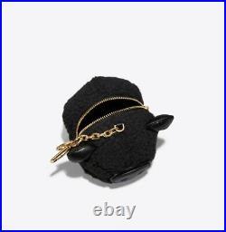 Brand New Tory Burch Black Peggy the Pig Pom-Pom Key Fob/Key Ring