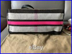 Burberry Black/Neon Pink Canvas And Leather Reversible Tote With Keychain