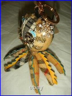 Burberry Crystal Studded Octopus Key Charm #8000683 1, Tan/black/multi, Nwt