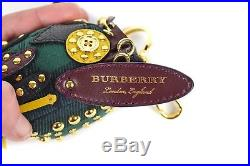 Burberry Owl Bag Charm Key Chain Leather Studded Green Gold Black