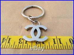 CC Logos Bag Charm Keychain Fob Hang Tag Black Enamel & Silver Tone Metal