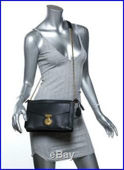 CELINE Black Leather Gold Push Lock Key Envelope Chain Shoulder Bag Crossbody