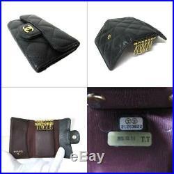 CHANEL 6 keys case matelasse A31503 Caviar skin leather Black Used Vintage CC