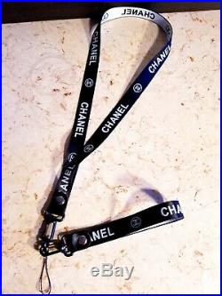 CHANEL Authentic Black Lanyard with detachable Key Holder High Fashion
