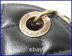 CHANEL Bag Charm Name Tag Black Matelasse Round CC COCO authentic