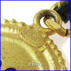CHANEL CC COCO Logos Medallion Charm Gold Chain Key Holder Ring 95A AK25297k