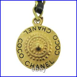 CHANEL CC COCO Logos Medallion Charm Gold Chain Key Holder Ring 95P 01162